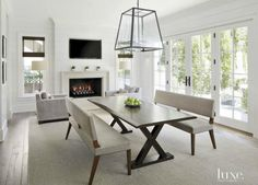 Transitional White Sitting Room with French Doors Transitional Living Rooms, Transitional House, Transitional Lighting, Piece A Vivre, Great Rooms, Decoration, Luxury Homes, Family Room, Home Decor