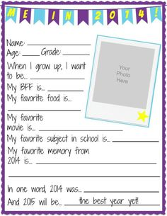 NYE All About Me Printable Worksheets- great for the classroom! Kids can fill out all their favorites and give it to parents as a snapshot of the year.