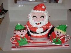 Homemade Santa and Elves Holiday Cake... This website is the Pinterest of Christmas cakes