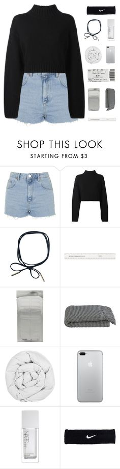 """""""i lost myself trying to look for you"""" by constellation-s ❤ liked on Polyvore featuring Topshop, DKNY, Crate and Barrel, The Fine Bedding Company, NARS Cosmetics and NIKE"""