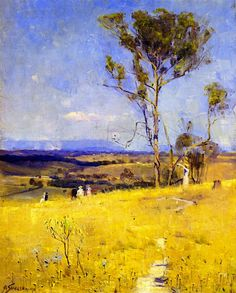 Sir Arthur Ernest Streeton was an Australian landscape painter and leading member of the Heidelberg School, also known as Australian Impressionism - Australian Painting, Australian Artists, Landscape Art, Landscape Paintings, Guache, Expositions, Art Moderne, Paintings I Love, Land Art