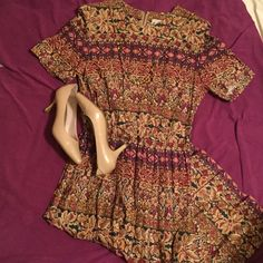 """Fun floral dress Fun floral print in this pleated skirt dress.  Back zip. From top back to hem = 47"""". Cotton. Belt is missing. Cream, tan, magenta, greens...see print in third picture. Great three season dress. Another Thyme Dresses Midi"""