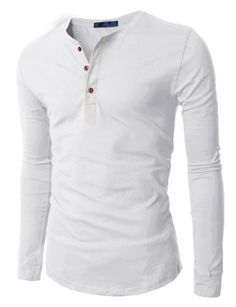 Doublju Mens Henley T-shirts with Long Sleeve WHITE (US-L)…