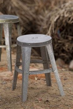 "galvanized stool with etched numbers $57.50 each from mothology 12x17""h"