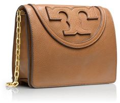 Tory Burch Oversized Logo Detail Cross-Body Pebbled Italian Leather Bag