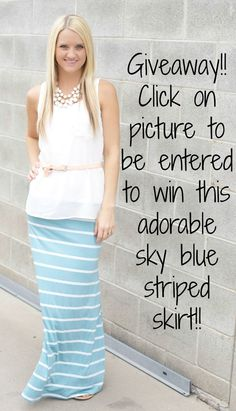 Want to win this adorable sky blue striped skirt? All you need to do is like us on Facebook, repin on Pinterest, and be entered to win!! It's a must have this season! shop.thenestonmainstreet.com