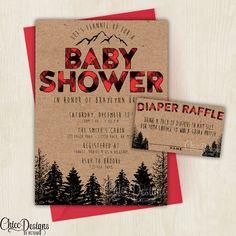 Lumberjack Baby Shower Invite - Baby Shower - Wilderness - Red - Plaid - Lumber…