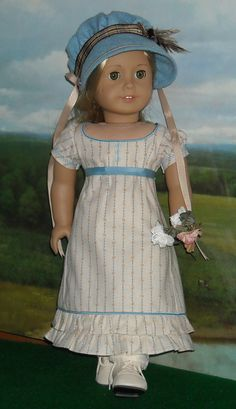 1812 Regency Blue Wool Pelisse, Bonnet and Dress for 18 inch Dolls