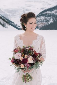 Lake_Louise_winter_wedding | Photo by Darren Roberts Photography, Design by Naturally Chic, Flowers by Willow Flower Co., Hair by Mountain Beauties, MAkeup by Canmore + Banff Makeup Artistry, Model - Courtney Mark - Sophia Models International