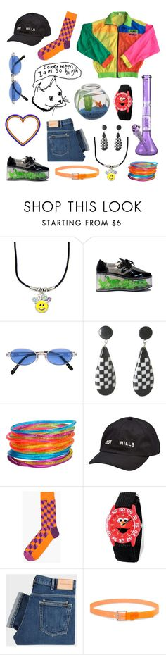 """""""Untitled #152"""" by plantxboy ❤ liked on Polyvore featuring Jean-Paul Gaultier, GLITTER JELLY, Yeezy by Kanye West, Sesame Street, PS Paul Smith and Forever 21"""