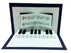 A pop up birthday card with a piano! On request of the text of the birthday song in German or English with the name of the birthday child! Size: 15 cm x 10 cm (folded)