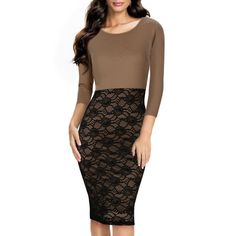 Miusol Womens Pinup Floral Lace Overlay Colorblock Tunic Bodycon Pencil Evening Dresses