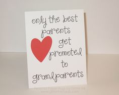 Grandparents Card - Only the best parents get promoted to grandparents - New Grandparents - Grandbaby by PersonalPaperHugs on Etsy New Grandparents, Personalized Greeting Cards, Sending Hugs, Grandparent Gifts, Baby Scrapbook, Baby Cards, Baby Things, Paper Goods, Card Ideas