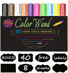 Color Wand Reversible Tip Liquid Chalk Markers, (10 Pens)