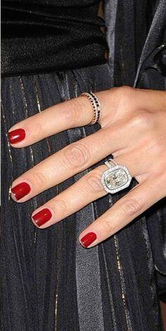 Rachel Zoe Engagement Ring- hoooooly crap that's a huge ring. Celebrity Engagement Rings, Beautiful Engagement Rings, Diamond Engagement Rings, Beautiful Rings, Wedding Jewelry, Jewelry Box, Jewelery, Wedding Rings, Wedding Nails