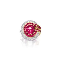 STAR RUBY, RUBY AND DIAMOND RING.
