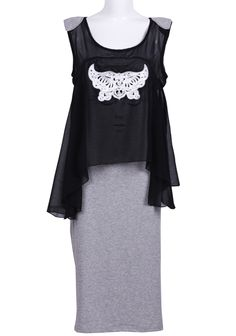 #SheInside Grey Black Sleeveless Face Print Cotton Dress - Sheinside.com