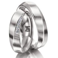 Alianças de Noivado e Casamento de ouro branco e com diamante
