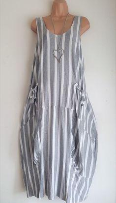 "New LaGeNLooK QUIRKY Italian LINEN striped /""PINAFORE/"" MAXI boho pocket DRESS 46/"""