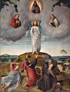 Transfiguration of our Lord Jesus Christ | 2015 | Catholic Mass Readings | The Transfiguration of Christ (Gerard David, 1520, O.L. Vrouwekerk, Bruges) | Mt 17:1-5 | After six days Jesus took Peter, James, and John his brother, and led them up a high mountain by themselves. And he was transfigured before them; his face shone like the sun and his clothes became white as light. And behold, Moses and Elijah appeared to them, conversing with him.