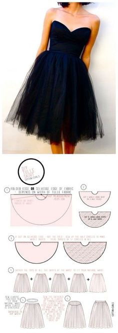 DIY tulle skirt - Gorgeous skirt sewing pattern for special occasions or just those days you want to feel like a ballerina! More free sewing patterns at: www.sewinlove.com...