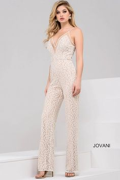 Ivory and Nude Sleeveless Sheer Neckline Jumpsuit 48490