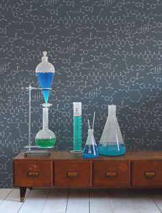 Love Molecules Wallpaper in Chalk design by Aimee Wilder