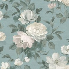 Papier peint Peony Bleu sarcelle- Collection In Bloom - Boråstapeter