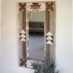 Rustic Bathroom Mirrors, Rustic Bathroom Designs, Wood Framed Mirror, Metal Mirror, Pallet Mirror Frame, Bathroom Mirror Design, Mirror Mirror, Modern Southwest Decor, Southwestern Decorating