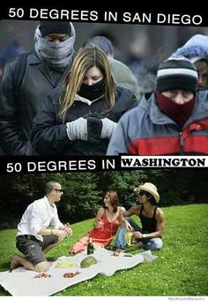 50 Degrees in San Diego and Washington