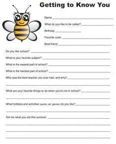 FREE! Getting to Know You - Elementary Student Survey