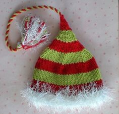 Items similar to Knit Crochet Christmas Baby Unisex Earflap Pom Hat Holiday Photo Prop on Etsy