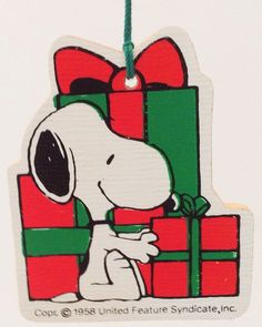 Vintage Snoopy Christmas Ornament Wooden Presents Gifts Peanuts
