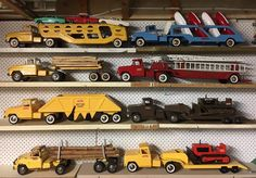 Iconic image for the representation of vintage toys. Tonka Trucks, Tonka Toys, Semi Trucks, 1980 Toys, 70s Toys, Little Boy Toys, Toys For Boys, Antique Toys, Vintage Toys