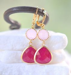Bridesmaid Earrings with Fuchsia and Pale Pink Jewels in Gold by RusticGem. Pink Wedding Jewelry.