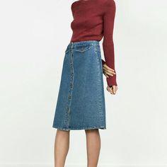 Zara Vintage Style Denim Skirt (6164)