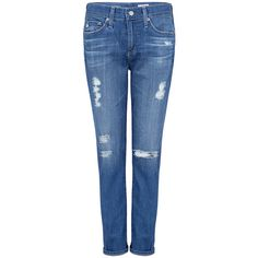 Ag Jeans - The Beau Slim Boyfriend Jeans ($90) ❤ liked on Polyvore featuring jeans, destroyed jeans, slim fit jeans, ripped jeans, loose fit boyfriend jeans and ripped blue jeans