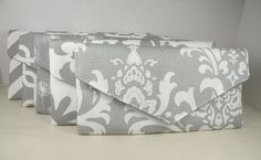 Set of Bridesmaid Clutches 5 Envelope by ocstylescreations on Etsy, $125.96