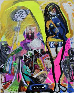 VICTOR TRICAR -La Virgen / acrylic oil pastel and collage on paper- 2015