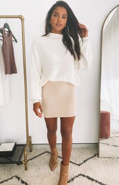 Business Casual Outfits For Women, Fall Outfits For Work, Casual Work Outfits, Work Casual, Cute Outfits, Casual Pencil Skirt Outfits, Sexy Business Casual, Dressy Winter Outfits, Beige Skirt Outfit