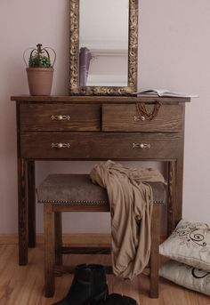 old oak console table