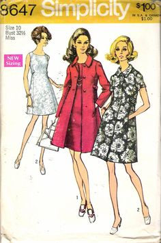 """Vintage 1969 Simplicity 8647 Mod Coat & Dress Sewing Pattern Size 10 Bust 32 1/2"""" by Recycledelic1 on Etsy"""