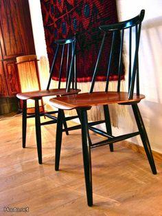 Ilmari Tapiovaara Fanett-tuoli / Fanett chair designed by Ilmari Tapiovaara Finland Nordic Design, Scandinavian Design, Chair Design, Furniture Design, Rya Rug, Mid Century Style, Vintage Furniture, Mid-century Modern, Dining Chairs