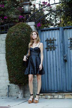 Italian blogger/model/designer Chiara Ferragni in a Kymerah leather dress & Celine wedges