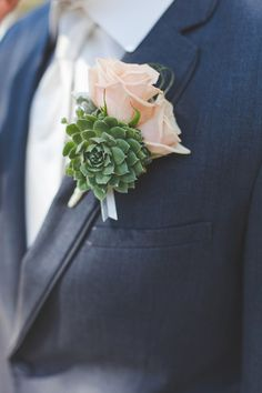 Roses and succulents for the groom! {Abbey Lunt Photography}