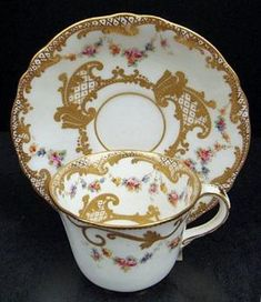 Charming Antique Crown Derby Demitasse Cup & Saucer by helen