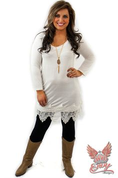 Desire Knit Dress with Lace Trim - Ivory - $36.95 - Every lady knows you have to have a taupe knit dress, it servers so many purposes. Well this fantastic knit dress, from Envy Boutique, with it accenting lace trim is no exception to the rule. Want to switch up your look on a very cool autumn night, add leggings!  | available at http://www.envyboutique.us/shop/desire-knit-dress-lace-trim-ivory/ |  #Envy #Boutique #fashion #fashiontrends
