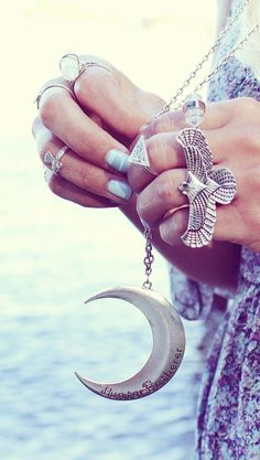 Chunky eagle hawk American Indian inspired tribal ring with hippie moon necklace…