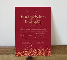 Wedding Invitation  printable  christmas by DesignedbyWillowLane