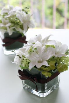 Simple center pieces ..... Just with pink and green